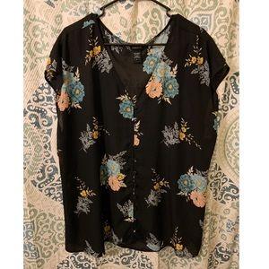 Floral Torrid button blouse